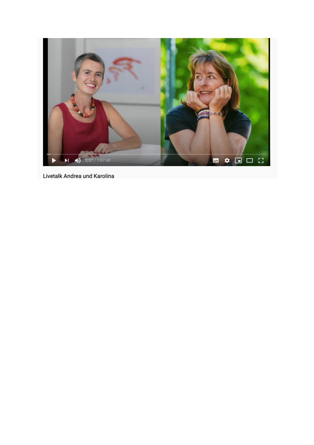 Livetalk zum Thema Disziplin mit Andrea und Karolina Samstag 25.4.2020 20.00 Uhr